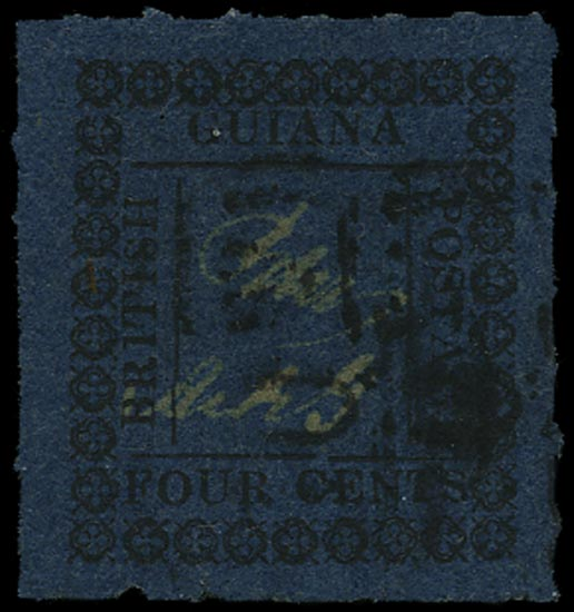BRITISH GUIANA 1862  SG123ba Used 4c blue type 14 with inner frame lines and variety 1 for I