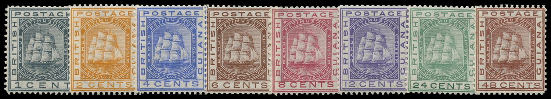 BRITISH GUIANA 1876  SG126/33 Mint Ship set of 8 to 48c