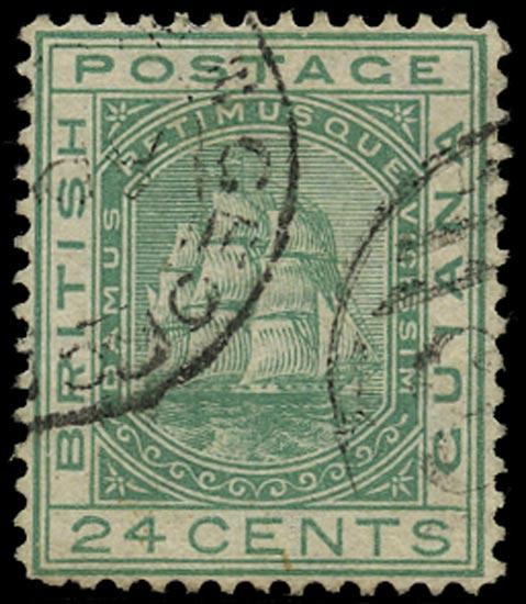BRITISH GUIANA 1876  SG132w Used Ship 24c emerald-green variety watermark inverted