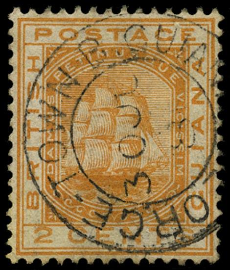 BRITISH GUIANA 1876  SG127w Used 2c orange Ship variety watermark inverted