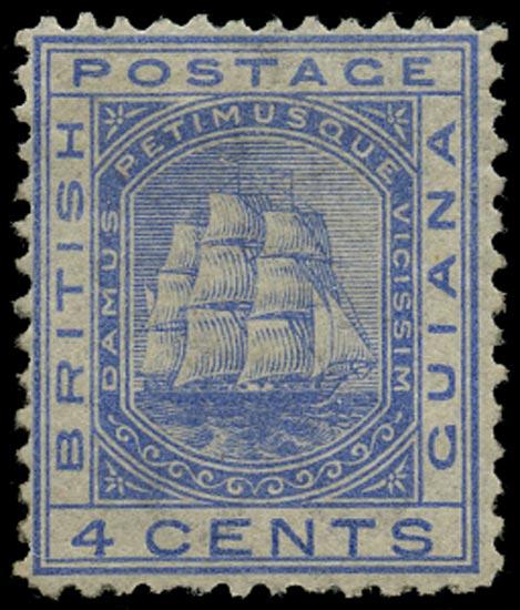 BRITISH GUIANA 1876  SG135 Mint 4c blue Ship perf 12½
