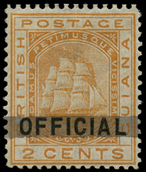 BRITISH GUIANA 1878  SG140 Mint 2c orange with horizontal bar across OFFICIAL