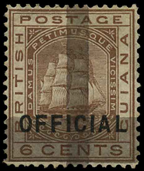 BRITISH GUIANA 1878  SG145 Mint (1c) on 6c brown with two horizontal and one vertical bars