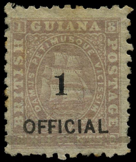 BRITISH GUIANA 1881  SG153 Mint 1 on 12c brownish purple