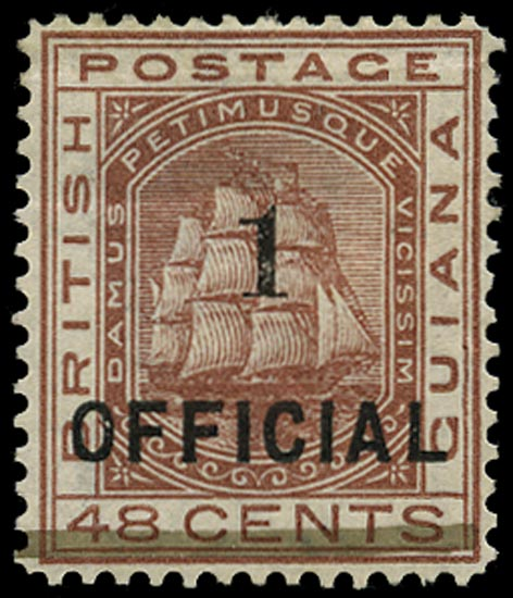 BRITISH GUIANA 1881  SG154 Mint 1 on 48c red-brown