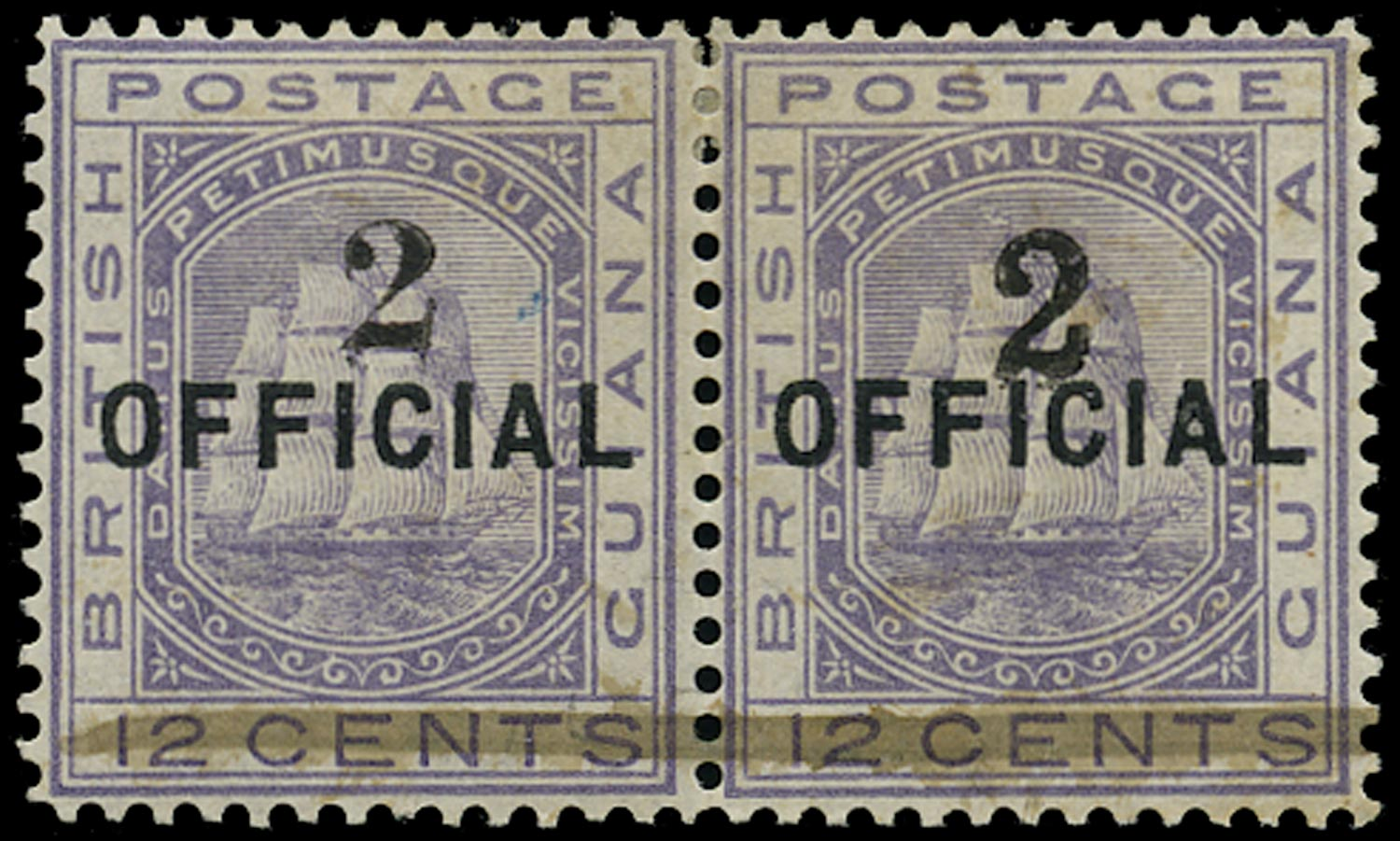 BRITISH GUIANA 1881  SG155a Mint 2 on 12c pale violet types 23 and 24 se-tenant