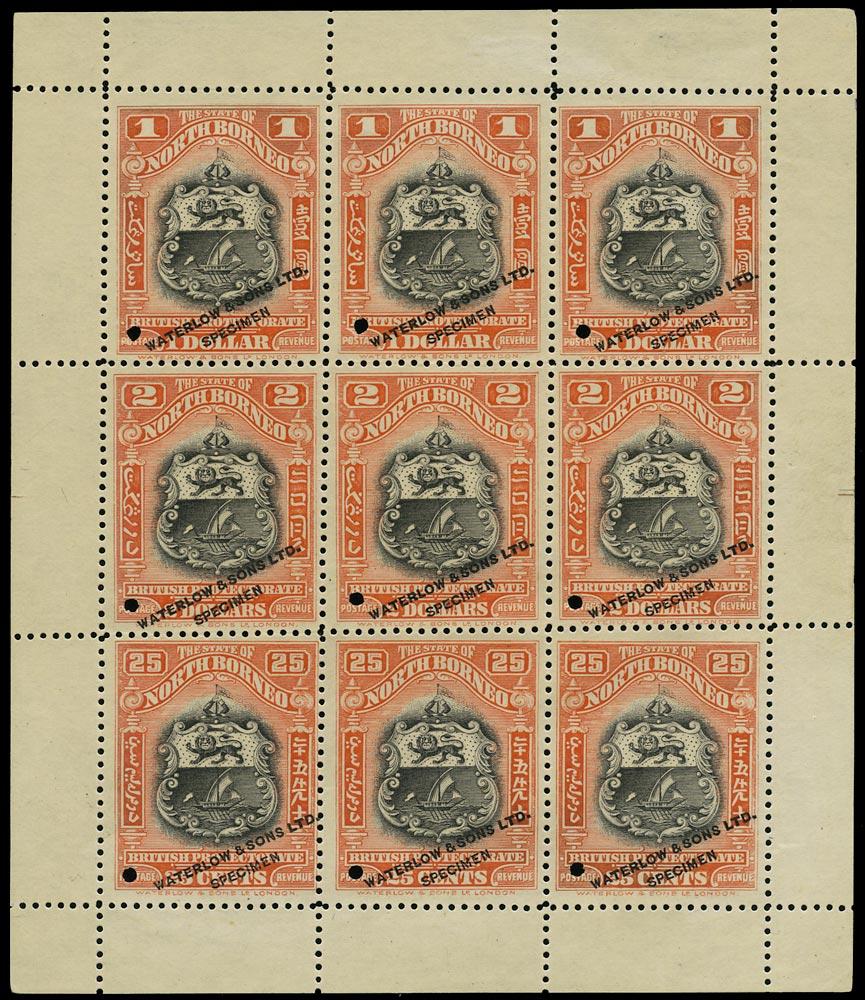 NORTH BORNEO 1911  SG178, 180/1 Proof