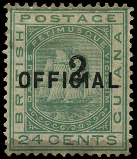 BRITISH GUIANA 1881  SG158 Mint 2 on 24c emerald-green Ship with type 24 surcharge