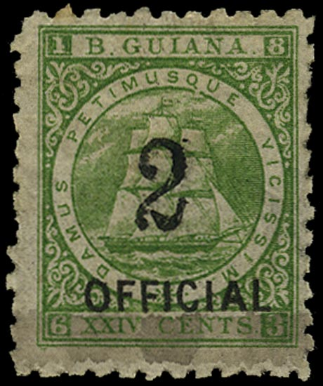 BRITISH GUIANA 1881  SG159 Mint 2 on 24c green Ship with type 19 surcharge