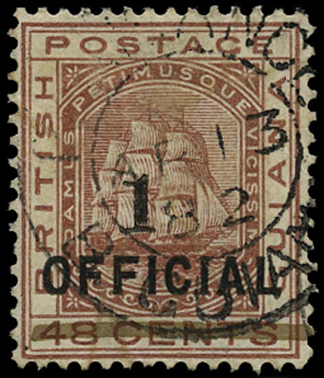 BRITISH GUIANA 1881  SG154 Used 1 on 48c red-brown Ship with type 21 surcharge