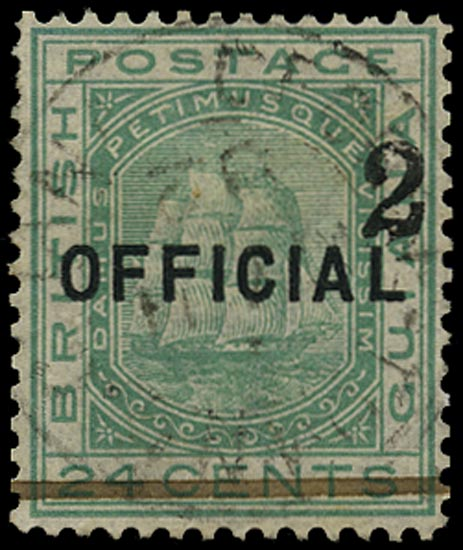 BRITISH GUIANA 1881  SG158 Used 2 on 24c emerald-green Ship type 24 surcharge