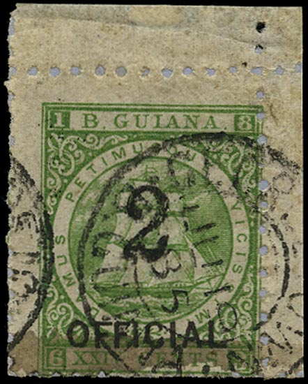 BRITISH GUIANA 1881  SG159 Used 2 on 24c green Ship type 19 surcharge