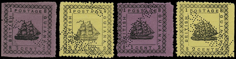 BRITISH GUIANA 1882  SG162/65 Mint typeset provisional types 26 and 27 set of 4