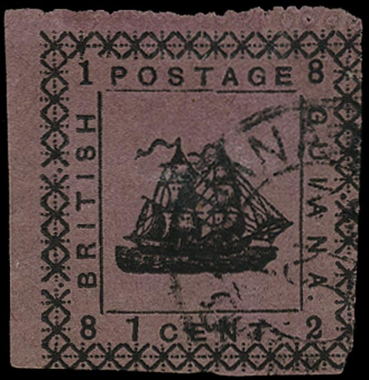 BRITISH GUIANA 1882  SG162b Mint 1c magenta typeset provisional type 26 error WITHOUT SPECIMEN
