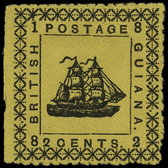 BRITISH GUIANA 1882  SG163a Mint 2c yellow typeset provisional type 26 error WITHOUT SPECIMEN