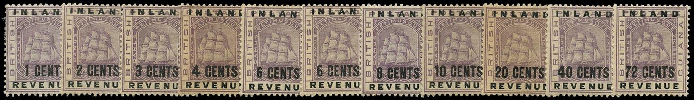 BRITISH GUIANA 1888  SG175/84 Mint Inland Revenue short set to 72c