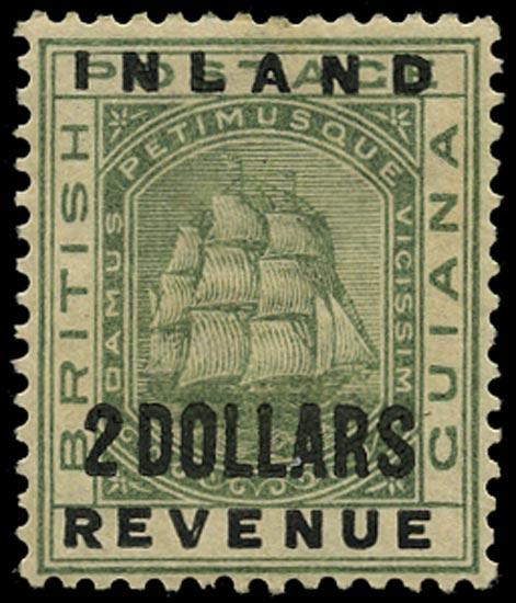 BRITISH GUIANA 1888  SG186 Mint Inland Revenue $2 green Ship