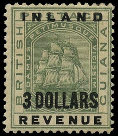 BRITISH GUIANA 1888  SG187 Mint Inland Revenue $3 green Ship