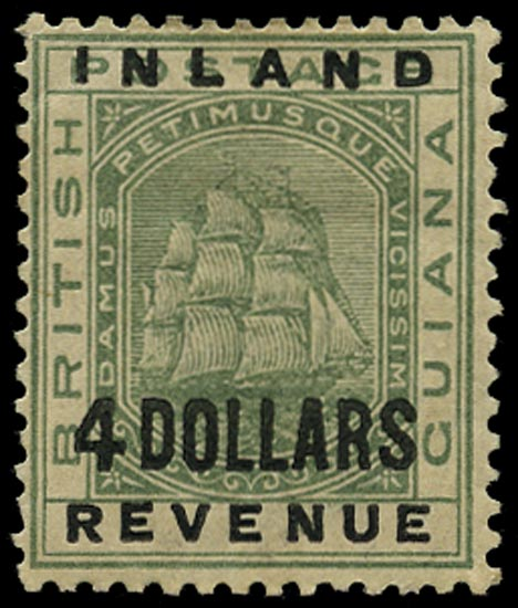BRITISH GUIANA 1888  SG188 Mint Inland Revenue $4 green Ship