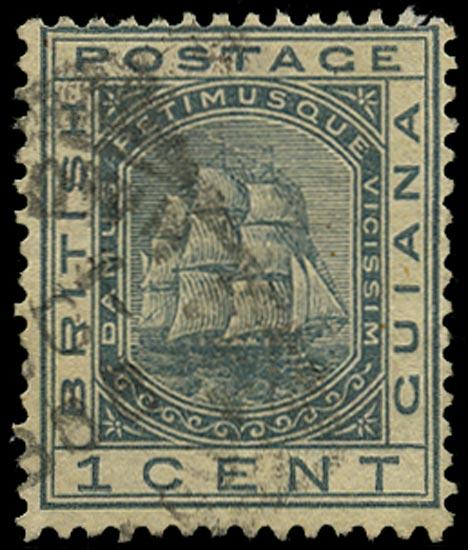 BRITISH GUIANA 1882  SG170x Used 1c slate ship variety watermark reversed