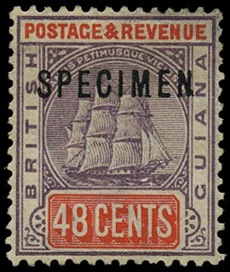 BRITISH GUIANA 1889  SG202xs Specimen 48c dull purple and orange-red variety watermark reversed