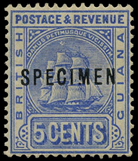 BRITISH GUIANA 1890  SG214s Specimen 5c ultramarine variety Broken M
