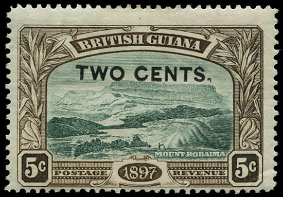 BRITISH GUIANA 1899  SG222b Mint 2c on 5c deep green and sepia Mount Roraima variety Comma after 'CENTS'