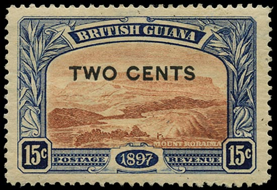 BRITISH GUIANA 1899  SG224a Mint 2c on 15c red-brown and blue Mount Roraima variety No stop after 'CENTS'