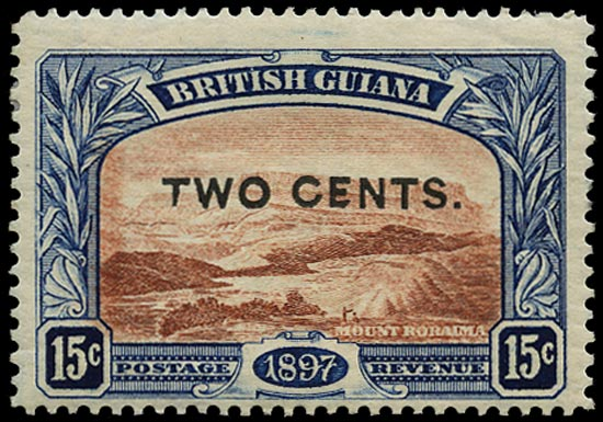 BRITISH GUIANA 1899  SG224f Mint 2c on 15c red-brown and blue Mount Roraima variety Shaved E