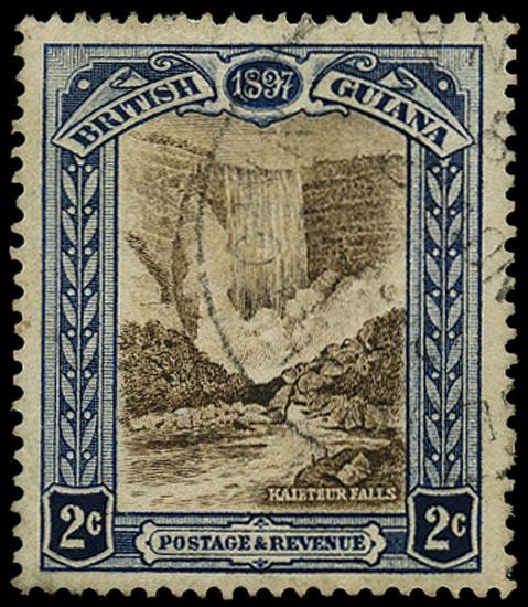 BRITISH GUIANA 1898  SG217x Used Jubilee 2c brown and indigo Kaieteur Falls variety watermark reversed