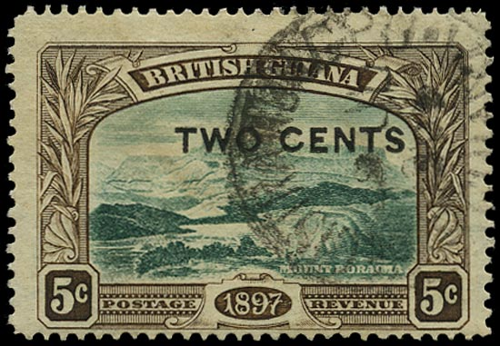 BRITISH GUIANA 1899  SG222a Used 2c on 5c deep green and sepia Mount Roraima variety No stop after 'CENTS'