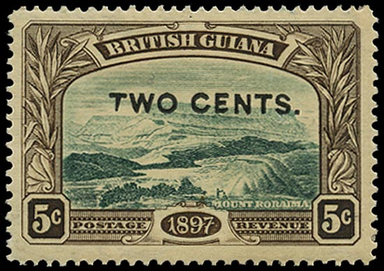 BRITISH GUIANA 1899  SG222d Mint 2c on 5c deep green and sepia Mount Roraima variety Shaved E