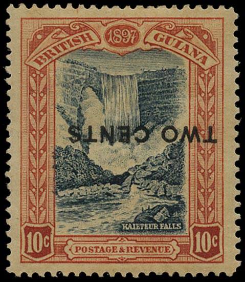 BRITISH GUIANA 1899  SG223ca Mint 2c on 10c blue-black and brown-red Kaieteur Falls error surcharge inverted and stop omitted