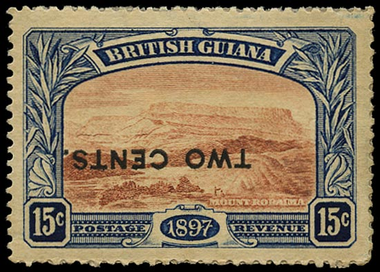 BRITISH GUIANA 1899  SG224d Mint 2c on 15c red-brown and blue Mount Roraima error surcharge inverted