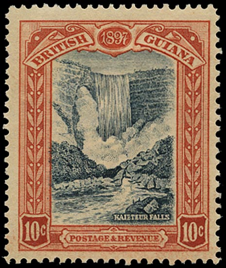 BRITISH GUIANA 1898  SG220x Mint 10c blue-black and brown-red variety watermark reversed