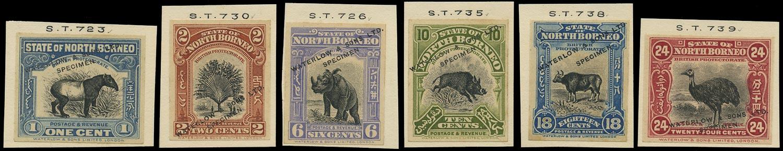 NORTH BORNEO 1909  SG158, 160, 167, 170, 175/6 Proof