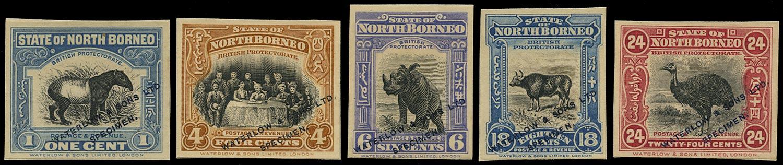 NORTH BORNEO 1909  SG158, 164, 167, 175/6 Proof