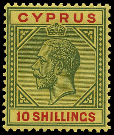 CYPRUS 1923  SG100 Mint 10s green and red on pale yellow