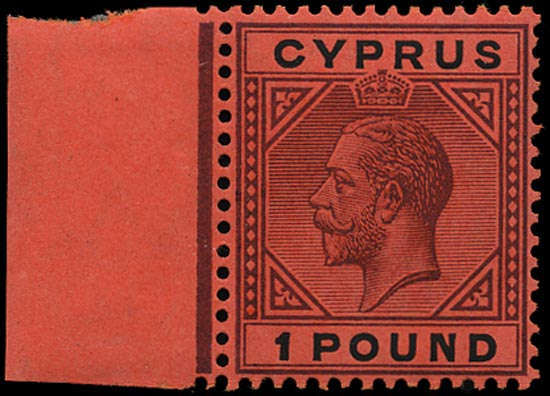 CYPRUS 1923  SG101 Mint £1 purple and black on red paper