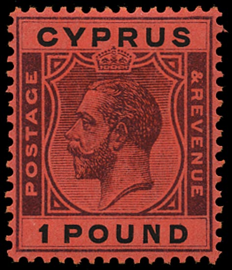 CYPRUS 1924  SG102 Mint KGV £1 purple and black on red paper