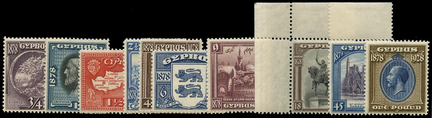 CYPRUS 1928  SG123/32 Mint 50th Anniversary set of 10 to £1