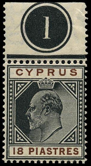 CYPRUS 1904  SG70 Mint KEVII 18pi black and brown watermark MCA