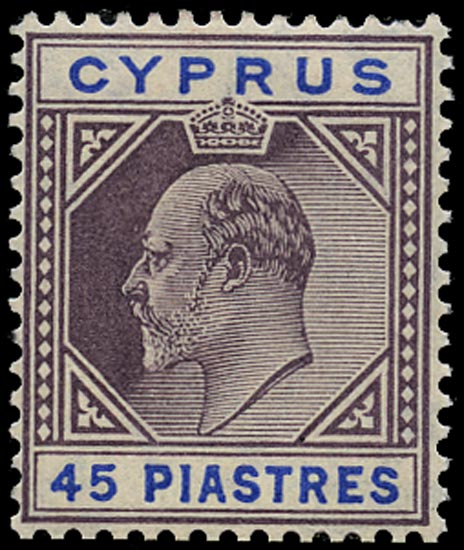 CYPRUS 1904  SG71 Mint unmounted 45pi dull purple and ultramarine watermark MCA