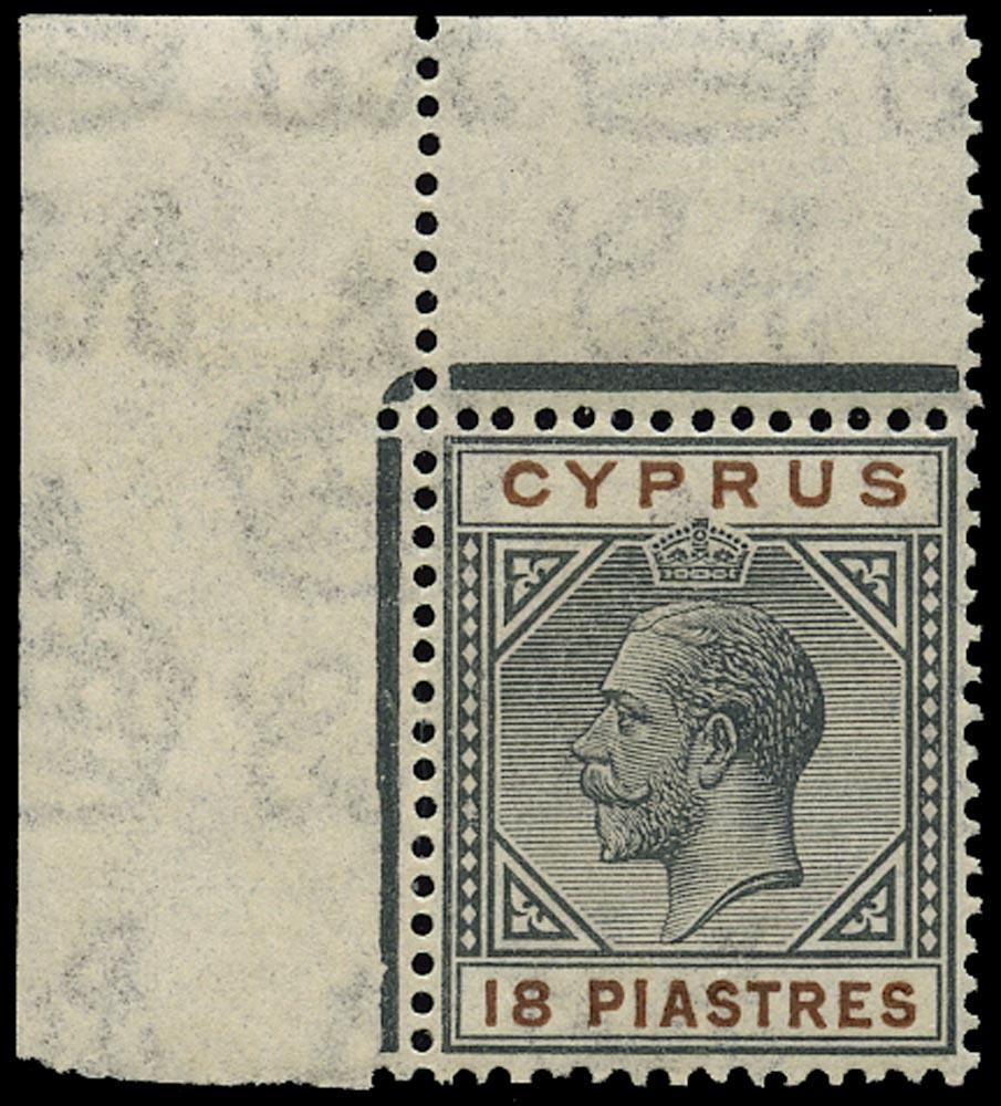CYPRUS 1921  SG98 Mint 18pi black and brown Script watermark