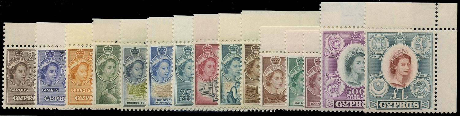 CYPRUS 1955  SG173/87 Mint unmounted QEII set of 15 to £1