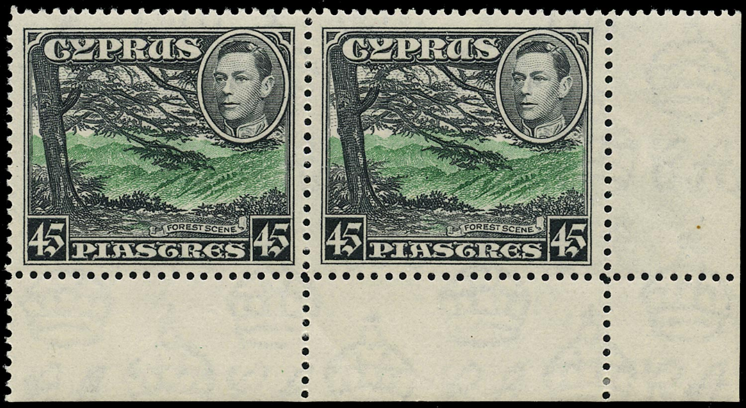 CYPRUS 1938  SG161 Mint unmounted KGVI 45pi green and black