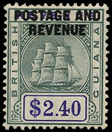 BRITISH GUIANA 1905  SG251 Mint $2.40 green and violet Ship