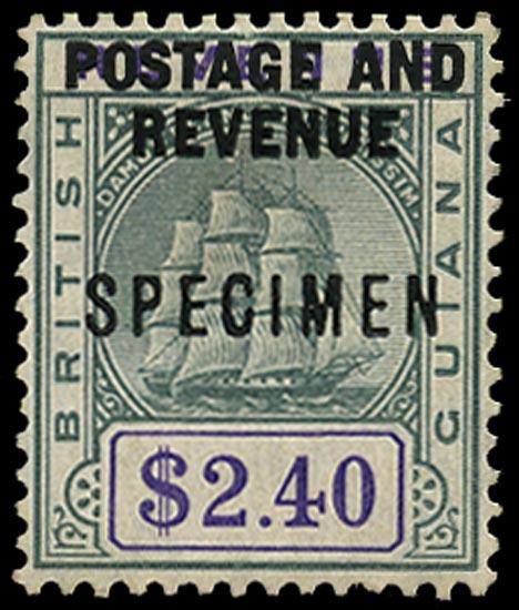 BRITISH GUIANA 1905  SG251s Specimen $2.40 green and violet Ship