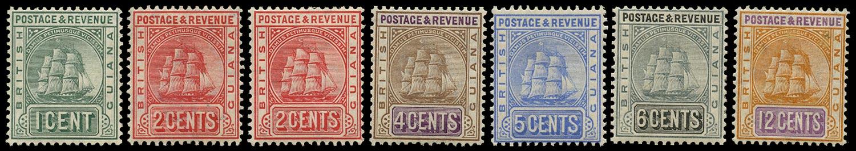 BRITISH GUIANA 1907  SG240c, 253/57 Mint New Colours set of 6 to 12c plus 1c blue-green
