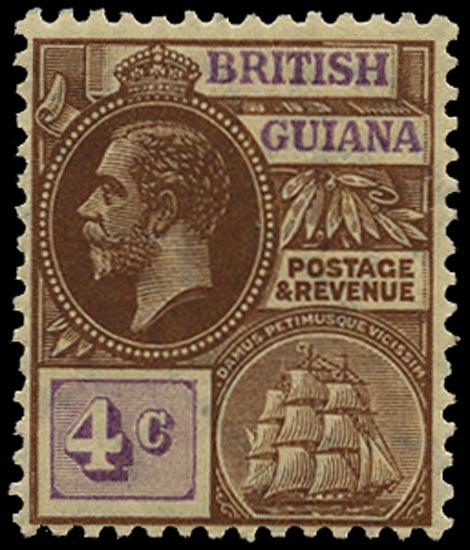 BRITISH GUIANA 1913  SG261aw Mint KGV 4c brown bright purple watermark MCA variety watermark inverted